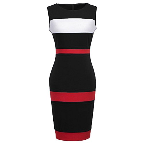 WOOSEA Women's Sleeveless Voguish Colorblock Stripe Cocktail Party Pencil Dress (Large , Black)