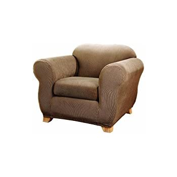 Sure Fit Stretch Stripe 2 Piece   Chair Slipcover   Brown (SF37717)