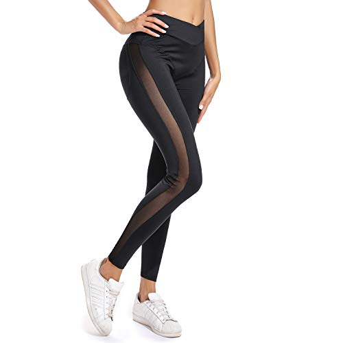 - FITTOO Women's High Waisted Mesh Patchwork Workout Leggings Panel Sheer Yoga Pants Gym Tights Black M