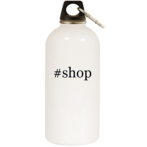 Molandra Products #Shop - White Hashtag 20oz Stainless Steel Water Bottle with Carabiner