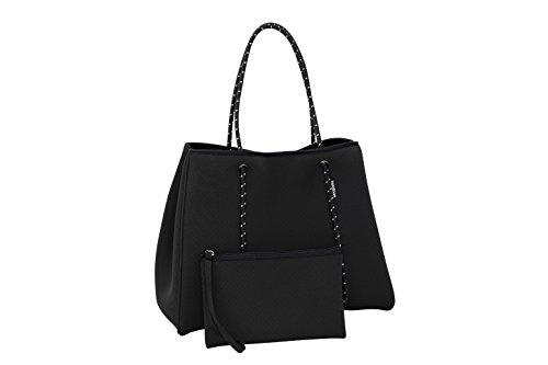 Large Neoprene Multipurpose Washable Tote Bag Matching Purse Inner Zipper Pocket
