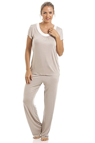 Camille - Conjunto de pijama largo para mujer - De modal - Visón Visón