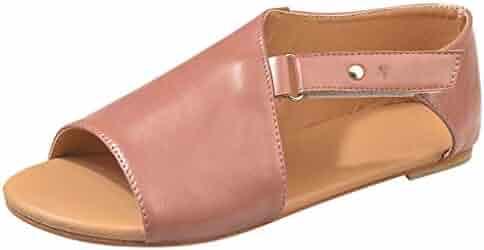 92513b835 Goddessvan Women's Flat Sandals Summer Peep Toe Beach Breathable Flat Solid  Color Sandals Rome Shoes