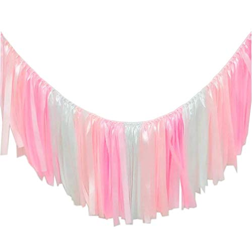 AZOWA Ribbon Tassel Garland Assembled Warm Pink Handmade Fabric Banner Fringe Hanging Decor for Wedding Nursery Photo Props Bridal Shower Party Decorations (40 in (L) X 14 in (H), Pink, White)