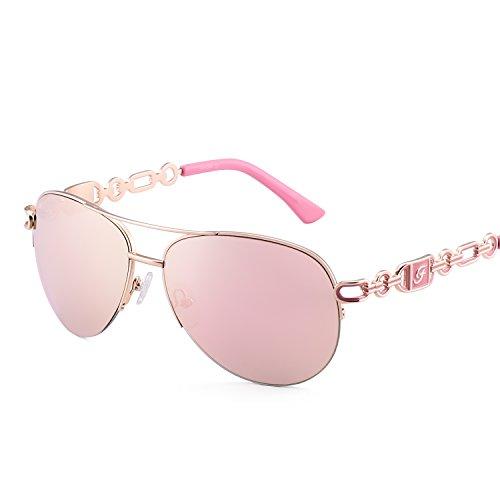 Fenchi Sunglasses For Women Driving Aviator Stereoscop Classic Vintage Eyewear Sunglasses Women 0257 (lens:pink revo/frame:rose - Eyewear Vintage Frames