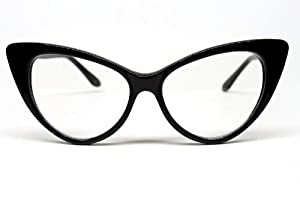 Unique Retro Vintage Style Sunglasses & Eyeglasses Super Cat Eye Glasses Vintage Inspired Mod Fashion Clear Lens Eyewear (Black) $6.98 AT vintagedancer.com