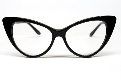 Amazon.com: Super Cat Eye Glasses Vintage Inspired Mod Fashion Clear ...
