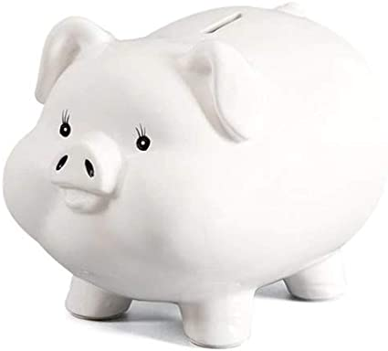 Color: White Sooiy Piggy banks for Kids Big White ceramic piggy bank money box pig Extra Large With Pink Butterfly And Heart Design Gift For Girls Children Teens Adults