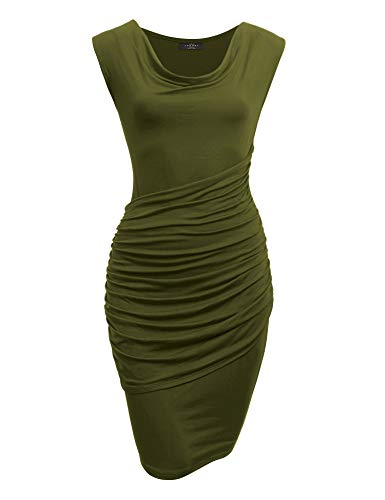 Made By Johnny MBJ WDR1186 Cowl Neck Sleeveless Pleats Detail Dress S Olive ()