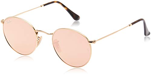 RAY-BAN RB3447 Round Metal Sunglasses, Matte Gold/Copper Flash, 50 mm (And Black Pink Bans Ray)