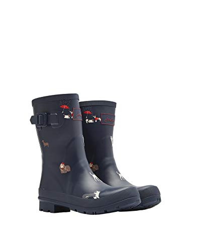 Joules Women's Molly Welly Navy Dogs Knee-High Rubber Rain Boot - 10M