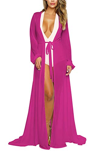 Women's Sexy Mesh Long Sleeve Swimsuit Swim Beach Cover Up Dress Purple 2XL