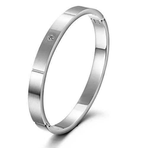Wistic Gold Cuff Bangle Bracelet Stainless Steel Screw Bar Bracelet for Women Men Girls Boys (White 1580(Men)) (Stainless Bracelet Nail Steel)