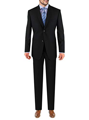 Marzzotti Eleganz Sharkskin 2 Button Men's Suit Trim Modern Fit Black 48L