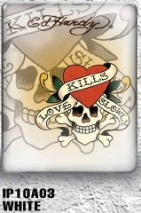 iPad 1 case - Ed Hardy Love Kills Slowly (White) 1st Generation iPad case for iPad1 (Oct 2010)