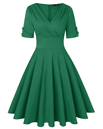 Women's Vintage V Neck Half Sleeve Pleated Flared A Line Swing Dress (Green,Size XL)