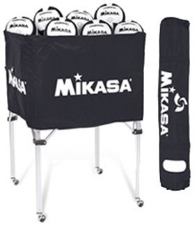 Indoor Volleyball - Ball Carts - Classic Collapsible Volleyball Cart with Carrying 6 Ball Bag, Black by Mikasa (Image #1)
