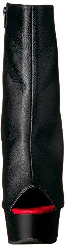 Pleaser, Damen Stiefel & Stiefeletten Blk-Red Faux Leather/Blk Matte