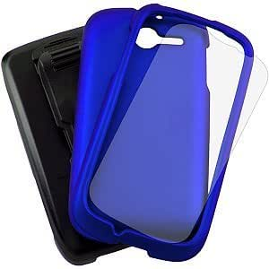 Bloutina 3 in 1 Combo Set Protector Case, Holster Belt Clip & Screen Guard for Huawei M866/ Y201 Ascend Y - Blue