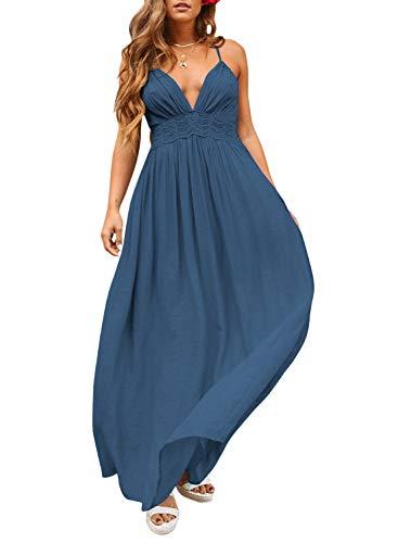 ZESICA Women's Summer Spaghetti Strap Halter Deep V Neck Backless Long Beach Party Maxi Dress Navy
