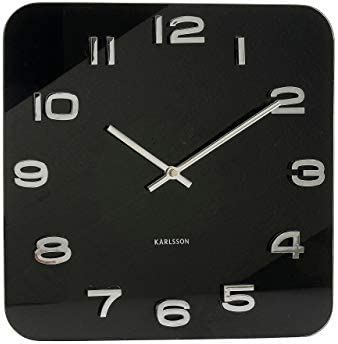 Karlsson Vintage Square Glass Clock – Black