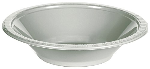 Creative Converting Touch of Color 20 Count Plastic Bowl, 12 oz, Shimmering Silver