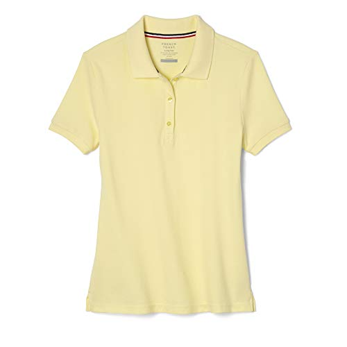 Yellow School Uniform - French Toast Big Girls' Short Sleeve Stretch Pique Polo, Yellow, Large/10/12