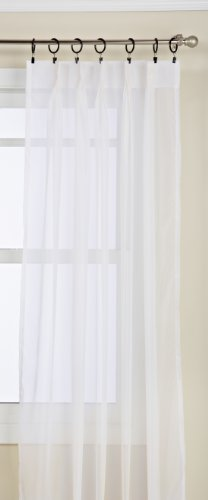 Pinch Sheer Pleated Drapes - Lorraine Home Fashions Monte Carlo Pinch Pleat Sheer Window Curtain Pair, 48 by 84-Inch, Snow White