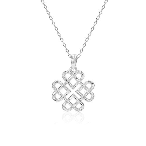 (Sterling Silver Diamond-Cut Filigree Heart Love Knot Pendant Necklace)