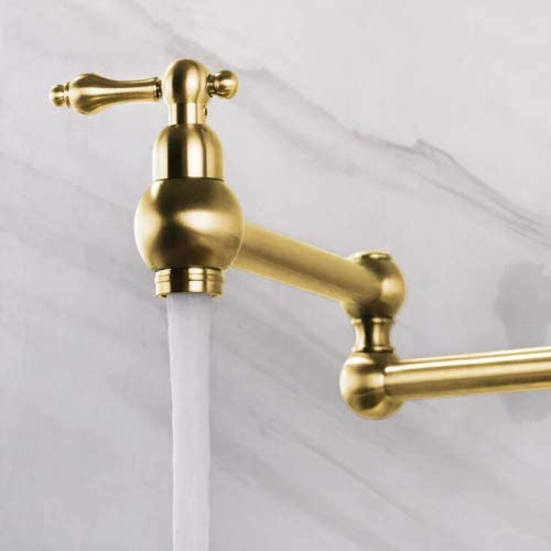 AYIVG Kitchen Sink Brass Wall Mount Single Hole Two Handle Pot Filler Folding Faucet Brushed Gold Finish