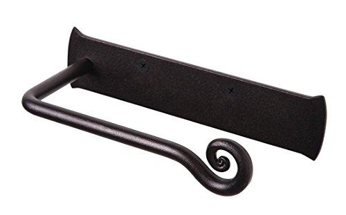 Iron Toilet - RTZEN Wrought Iron Toilet Paper Holder | Black TP Roll Hanger | Wall Mount Handmade Roll Hanger Décor
