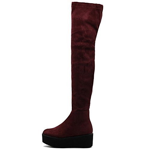 Suede Shoe Faux Faux Thigh Ollio Boots Heel High Stretch Leather SU Wine Flat Women's High Platform Long Or 5BWfcfIFwq
