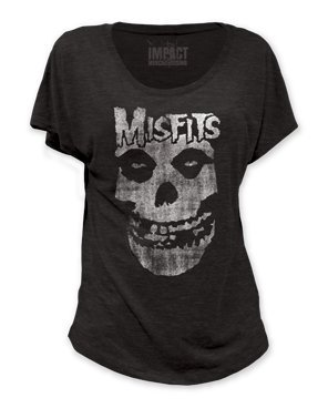 Impact Women's Misfits Distressed Skull Dolman Fitted Black T Shirt - Medium