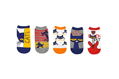 Pete the Cat Socks Gifts (Youth) (5 Pair) - Pete the Cat Costume Lowcut Socks - Fits Shoe Size: 9-3 (Kids) -