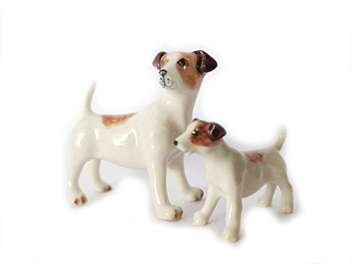 (Animal Miniature Handmade Porcelain Jack Russell Terrier And Baby Statuette Collectibles Gift)