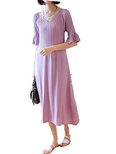 考えブロックのれん(アスコット) Askotto レディース ワンピース オールインワン ドレス 体型カバー 緩やかウエスト (ピンクパープル ロング丈 フリーサイズ) デート お呼ばれ 女子会 ファッション