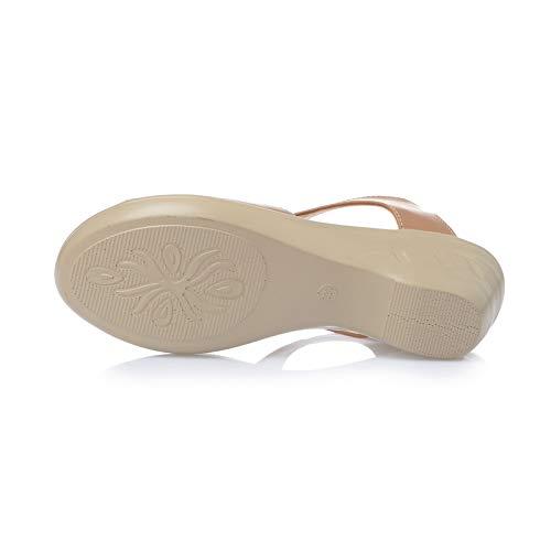 a peep grandi toe Colore pelle 43 Dimensione spillo con in tacco sandali donne zeppa dimensioni Nero Scarpe di pelle EU di ZHRUI Cammello OzAIfz
