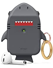elago Shark AirPods Case Compatible with Apple AirPods 2 & 1 - Funny and Cute 3D Cartoon AirPods Case Design, Best Gifts for Girls Boys Couple, Premium Silicone AirPods Case with Keychain