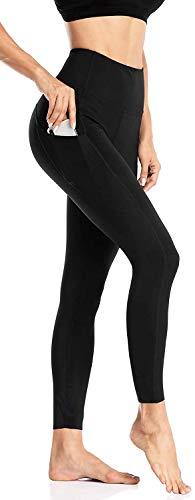 Anwell Sport Damen Leggings Lange Blickdicht Yoga Hose Sport Hose Fitnesshose Schwarz