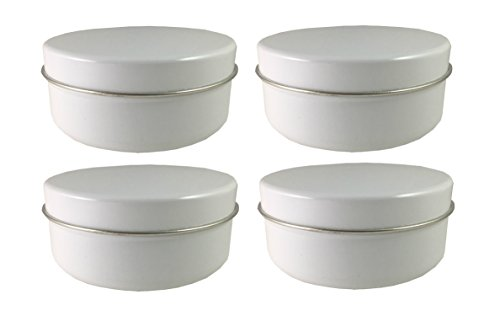 Tin Can With Lid, 16 oz Large Round Tin Can, White, (4 pack) - Large Round Tin