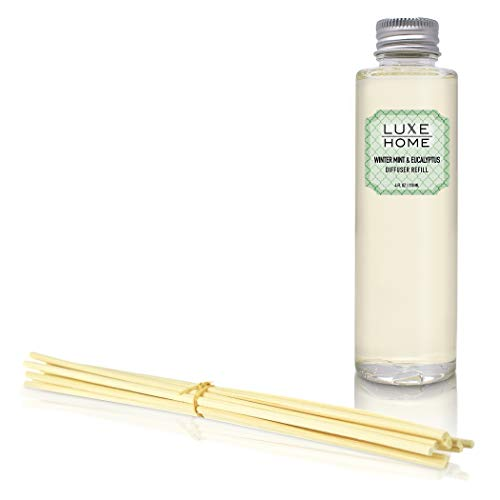 - Luxe Home Winter Mint & Eucalyptus Reed Diffuser Refill Oil with Sticks | Herbal Essential Oil Blend | Liquid Air Freshener | Includes Replacement Reeds