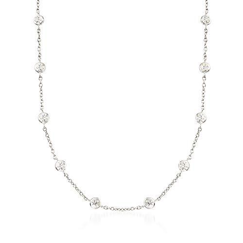 Ross-Simons 4.50 ct. t.w. Bezel-Set CZ Station Necklace in Sterling Silver (Sterling Silver Bezel Necklace)