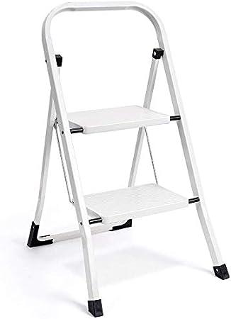 wohous Escalera Plegable de 2 peldaños con Agarre de Mano Antideslizante y Pedal Ancho Multiuso para el hogar y la Oficina, Taburete portátil de 330 Libras, Color Blanco (2 pies): Amazon.es: Hogar