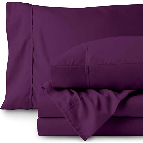 Bare Home Twin XL Sheet Set - College Dorm Size - Premium 1800 Ultra-Soft Microfiber Sheets Twin Extra Long - Double Brushed - Hypoallergenic - Wrinkle Resistant (Twin XL, Plum)