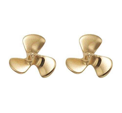 14K Gold Propeller Stud Earrings