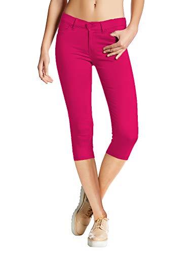 Women's Hyper Stretch Denim Capri Jeans Q44876X Fuchsia 2X