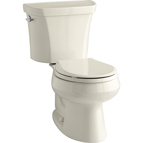 (KOHLER K-3987-47 Wellworth Two-Piece Round-Front Dual-Flush Toilet with Class Five Flush System and Left-Hand Trip Lever, Almond)