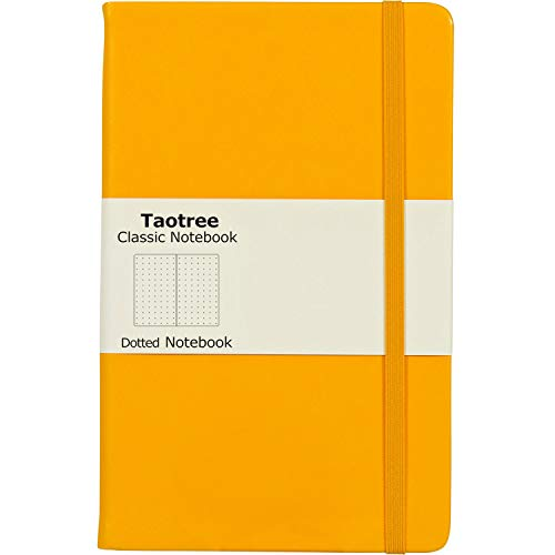 Taotree Dot Grid Hard Cover Journal Notebook, 100gsm Premium Thick Paper with Fine Inner Pocket, Yellow Smooth Faux Leather, 144 Pages, 5''×8.3'' (Calendar Desk Line Executive)
