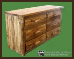 Cedar Dresser Drawer Six Log - Midwest Log Furniture - Torched Cedar Log Dresser - 6 Drawer