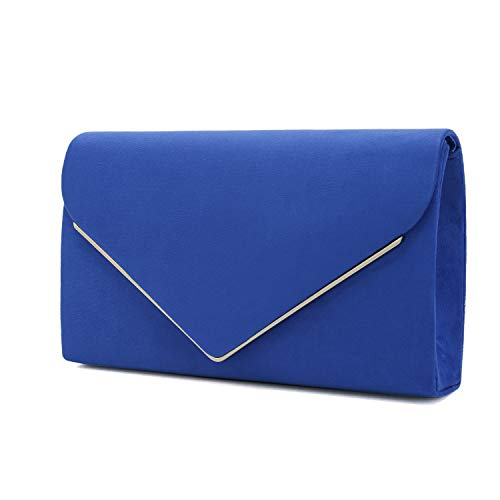 Charming Tailor Faux Suede Clutch Bag Elegant Metal Binding Evening Purse for Wedding/Prom/Black-Tie Events (Royal Blue)